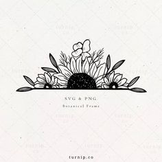 Sunflower Drawing, Sunflower Tattoos, Sunflower Tattoo Design, Simple Flower Drawing, Cool Art Drawings, Art Drawings Sketches, Drawings Of Flowers, Flower Sketches, Ink Illustrations