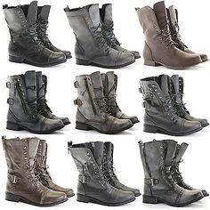 Feminina Senhoras tornozelo Militar Exército do trabalhador Plana Lace Up Combat Motoqueiro botas tamanho