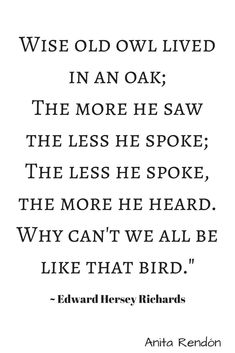 Wise Old Owl Lived In An Oak The More He Saw The Less He Spoke  The Less He Spoke The More He Heard.  Why Can't We All Be Like That Bird.