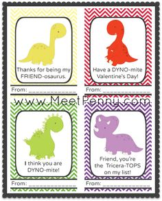 Free Printable Dinosaurs Valentine's Day Cards