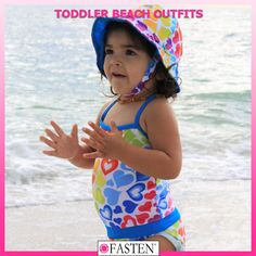 Toddler beachwear from #FASTEN. One-piece swimsuit and hat. UPF 50+. Keep your toddler protected from the sun AND make beach time faster, easier, and cleaner with our patented kids swimwear! #FASTENista #hearts #heartswimsuit