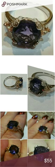 Genuine Amethyst & Morganite ring size 8 Stunning Ring.  At least 5 CT Amethyst beautifully cut and set in 925 stamped Solid Sterling Silver. Please see all pictures for details. Brand New. Never Worn. Wholesale Price. Msrp 455.00 Jewelry Rings