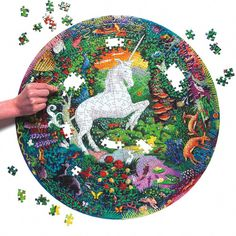 A unicorn circle design sporting vibrant colors and plenty of background fauna. It'll be fun to discover new little animals with each piece connected. Best Educational Toys, Educational Toys For Toddlers, Kitty Hawk Kites, Secret House, Little Red Hen, Forest Creatures, Puzzles For Kids, Circle Design, Puzzle Pieces