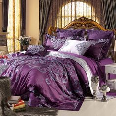 Eggplant Purple and Grey Vintage Chic Floral Print Southwestern Style Jacquard Design 3000 Thread Count Cotton Satin Full, Queen Size Bedding Sets Purple And Grey Bedding, Purple Bedroom Decor, Purple Comforter, Bedroom Comforter Sets, Purple Bedrooms, Queen Bedding Sets, Luxury Bedding Sets, Purple Grey, Plum Bedding