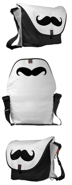 Moustaches aren't only for men and they certainly aren't only for Movember. Love this moustache-themed messenger bag.
