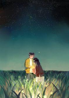 glowing night by tamomoko on DeviantArt Cute Couple Art, Anime Love Couple, Manga Couple, Couple Illustration, Illustration Art, Couple Drawings, Art Drawings, O Cowboy, Bts Art