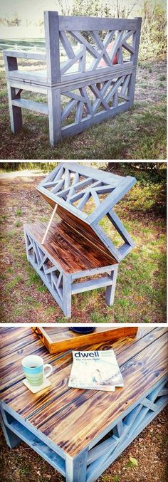 Convertible Bench that turns into a Coffee Table perfect for your outdoor or backyard patio or yard.