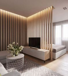 80 Gorgeous Studio Apartment Divider Decor Ideas And Remodel Small Apartment Bedrooms, Apartment Interior, Small Apartments, Small Spaces, Apartment Ideas, Studio Apartments, Apartment Living, Room Interior, Studio Apartment Divider