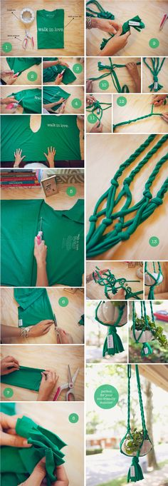 """make a plant hanger from a t-shirt """"DIY T-shirt plant hanger. See full instructions here…"""", macrame diy plant hanger tutorials hanging pots - Savvy W Hanging Pots, Diy Hanging Planter Macrame, Hanging Plant Diy, Macrame Plant Hanger Diy, Crochet Plant Hanger, Indoor Plant Hangers, Hanging Air Plants, Hanging Baskets, Creation Deco"""