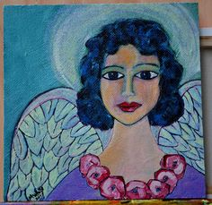 Rose Angel painted on board.  Acrylic by me.