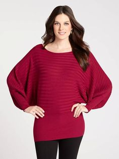 Where cozy comfort meets on-trend styling is where you'll find this gorgeous sweater! Featuring eye-catching horizontal ribbing and elegant dolman sleeves, this Fall necessity will boost any look....3030339-0459