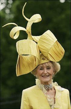 never too old for a fashionable sense of whimsy (a younger woman probably couldn't have carried this off)  -- Kentucky Derby 2012: Craziest racing hats ever - NY Daily News