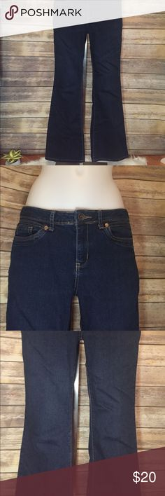 "Vera Wang Dark Wash Jeans. Size 8 Vera Wang Dark Wash Jeans. Boot cut. Very cute and stylish. Would look so cute with your favorite boots. Inseam 27"". Waist line 16"". Thigh Width 9 1/2"". Measurements are approximate. Simply Vera Vera Wang Jeans Boot Cut"