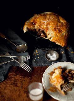 Vegemite Beef and Aussie Ale Pie, Cider Roasted Pork Tenderloin with Apple, Prune & Pinenut Stuffing, Chocolate Amaretto Pear Frangipane Tart (click through for recipes)