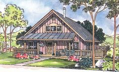 House Plan 69112 at FamilyHomePlans.com slightly larger than I'm looking for, but nice loft!