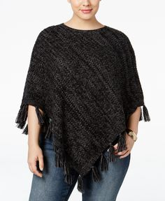 Style & Co. Plus Size Fringe Poncho Sweater, Only at Macy's