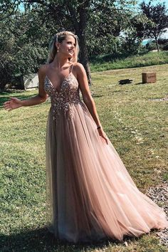 Backless Tulle Beaded Prom Dresses Party Dresses with Spaghetti Straps Backless Tulle Beaded Prom Dress Party Gowns With Spaghetti Straps – LaRovias Pretty Prom Dresses, Prom Dresses Blue, Prom Party Dresses, Evening Dresses, Formal Dresses, Prom Dress Rose Gold, Prom Dress Long, Plus Size Prom Dresses, Gold Formal Dress