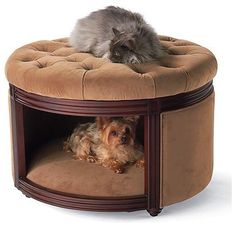 Pet Ottoman Den Dog Bed Crafted of birch wood. Upholstered with ultrasoft microfiber. Topped with a tufted microvelour cushion that resists pet stains. Spot cleans with soap and water. For pets up to 60 lbs..at Frontgate