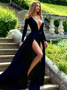 LOVE Prom Dresses Sexy Prom Dress, Prom Dress with Long Sleeves, Prom Dress with Split Front, Royal Blue Prom Dress Sexy Long Sleeve Deep V-Neck 2017 Prom Dress Slit Party Gowns Prom Dresses Long With Sleeves, Prom Dresses With Sleeves, Sexy Dresses, Cute Dresses, Beautiful Dresses, Formal Dresses, Dress Prom, Dress Long, Wedding Dresses