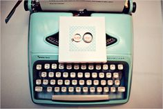 Vintage 1960s Aqua Typewriter - 1960s Mad Men Theme Wedding