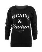 Women's Cocaine And Caviar Print Fleece Sweatshirt Jumper  Forever