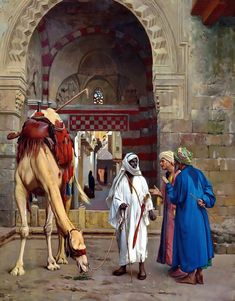 Arab Men And The Camel - Egyptian Art - Arabian Art - Handmade Oil Painting On Canvas - Malerei_Orient - Most Beautiful Paintings, Amazing Paintings, Jean Leon, Middle Eastern Art, Arabian Art, Islamic Paintings, By Any Means Necessary, Fire Art, Historical Art