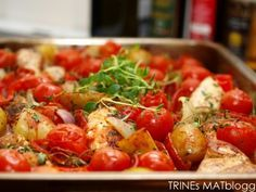 Ovnsbakt chilikylling med chorizo, tomat og poteter | TRINES MATBLOGG