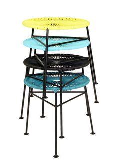 Tabouret empilable Centro / Plastique tressé Turquoise - OK Design pour Sentou Edition