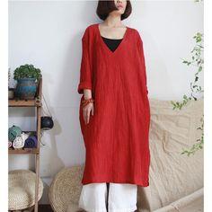 Women summer cotton linen dress red