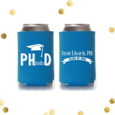 PHinished - PHD Graduation Koozie - Finally Finished - Custom Party Favor - Reception Gift - Personalized - Coolie Huggie Class of 2014 by CherishByNoel on Etsy, $70.00