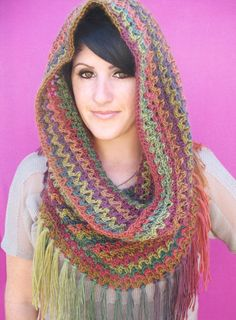 Fringed Hooded Cowl Free Crochet Pattern