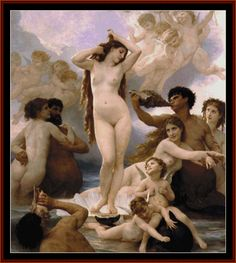 BOU-13.1 - Birth of Venus - All cross stitch patterns - - Bouguereau - Classicism - Groups & Figures - Mythology - Nudes - Cross Stitch Collectibles