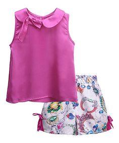 Look what I found on #zulily! Hot Pink Sleeveless Top & White Jewel Shorts - Toddler & Girls #zulilyfinds