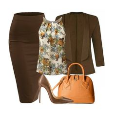 The Browns How about an earthly outfit featuring a brown pencil skirt, a turn up sleeve open front blazer, printed cami top, an Anne Klein Billy small satchel and a pointy toe stiletto pump. Images are not ours and may be subject to copyright. Office Fashion, Work Fashion, Curvy Fashion, Street Fashion, Classy Outfits, Chic Outfits, Modelos Fashion, Mein Style, Complete Outfits