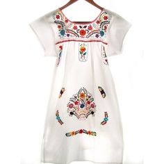 d7ddcf91b9 Mexican Dress Embroidered White Tunic Mini Dress ( 98) ❤ liked on Polyvore  featuring dresses