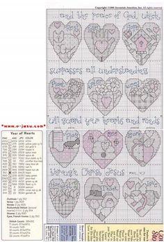 Schema punto croce Year Of Hearts 02