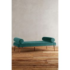 Velvet Darcy Daybed ($1,598) ❤ liked on Polyvore featuring home, furniture, sofas, teal, handcrafted furniture, bolster bed, teal furniture, transitional furniture and colored furniture