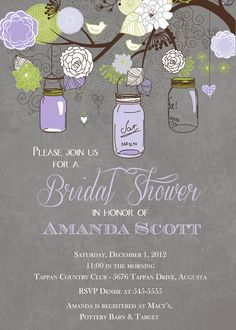 Rustic Mason Jar Tree Bridal Shower in Lavender by PartyPopInvites, $17.00