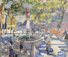 Oskar Laske : Galerie bei der Albertina Global Art, Art Market, Fountain, Past, Saints, Cityscapes, Artist, Painting, Ulm