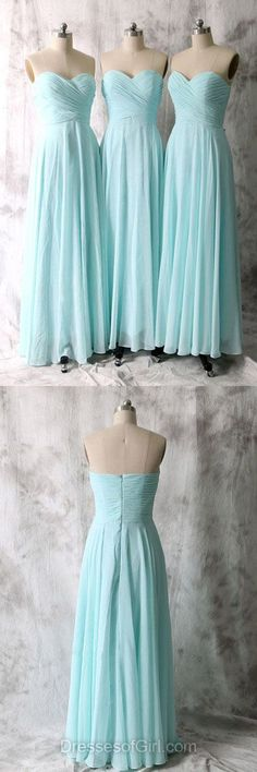 Sky Blue Bridesmaid Dresses, Long Bridesmaid Dresses, Cheap Bridesmaid Gowns, Modest Bridesmaid Dress