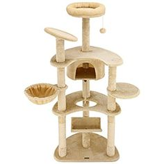 "Amazon.com : Ollieroo 60"" H Cat Tree Furniture Tower Climbling Activity Tree Scratcher Play House Condo Hammock with Scratching Post and Toys Beige : Pet Supplies"