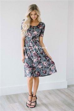 64a47d8d404 Gray Dusty Plum Floral Modest Church Dress