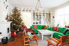 Green And Wooden Couch With The Basic Christmas Touches Given Perfectly For Celebration