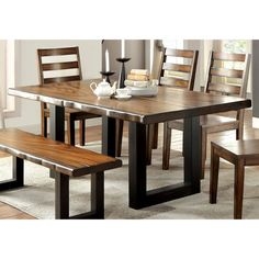 Furniture of America Maddison Contemporary Style Tobacco Oak Finish Dining Table Dinning Table Design, Rectangle Dining Table, Furniture Dining Table, Solid Wood Dining Table, Dining Furniture, Furniture Design, Dining Bench, Wooden Dining Table Designs, Hillsdale Furniture