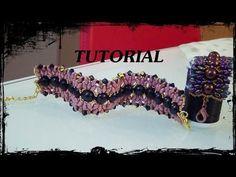 """▶ Tutorial Perline: Bracciale """"Saturno"""", realizzato con superduo, rocaille, swarovski - YouTube"""