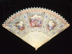 Circa 1785 pierced and painted ivory Brise Fan (known as the Mrs Fitzherbert Fan), English.