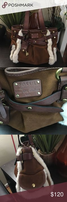 "New authentic rare Fossil suede and fur satchel Brand new authentic and rare really beautiful Fossil suede and fur satchel. Brand new without tags. Perfect gift for suede lovers. Or yourself. Pictures don't make a justice of this beauty. Size 14""x9x5"" Fossil Bags Satchels"