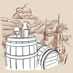 Vineyard Illustration with Sketched Barrel and Glass of Vine
