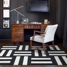 masculine 1- nail head trim 2- graphic carpet 3 - natural wood