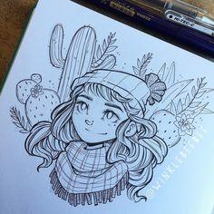 regram @winklebeebee January 14th #dailydrawing [Prickly].